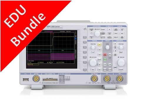 R&S® HMO1002MAX - Education Bundle, HMO1002, 100MHz, 2 channels scope plus full serial decodes.