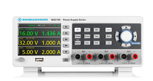 R&S® NGE103 - 3-channel power supply, 0 to 32 V / 3 A,max. 99 W, resolution 10 mV / 1 mA,U/I trac