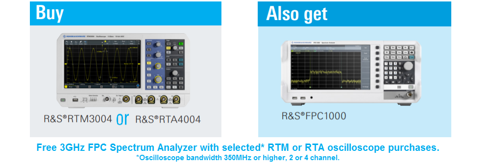 Free 3GHz Spectrum Analyzer with RTA or RTM Oscilloscope Purchase.
